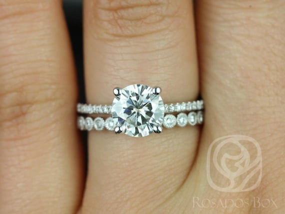 1.50ct Eloise 7.5mm & Petite Bubbles 14kt White Gold Forever One Moissanite Diamonds Dainty Pave Accent  RoundWedding Set Rings,Rosados Box