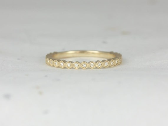Ultra Petite Honore 14kt Gold Dainty Art Deco Hexagon WITH Milgrain Diamond ALMOST Eternity Band Stack Ring,Rosados Box