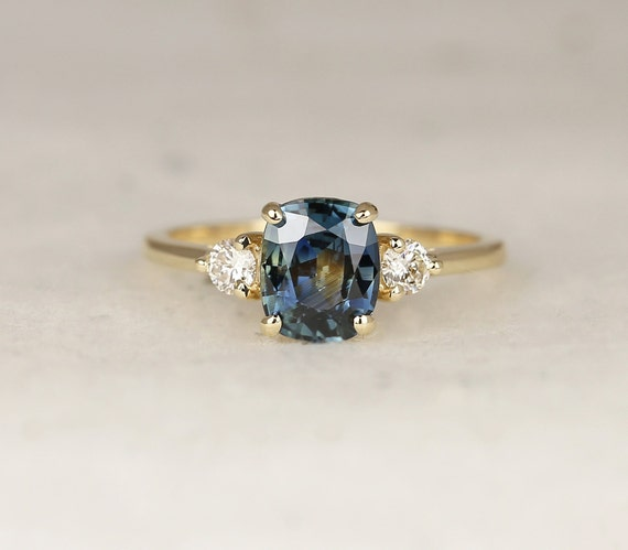 1.60ct Ready to Ship Gladys 14kt Solid Gold Ocean Teal Sapphire Diamond Minimalist 3 Stone Elongated Cushion Engagement Ring,Rosados Box