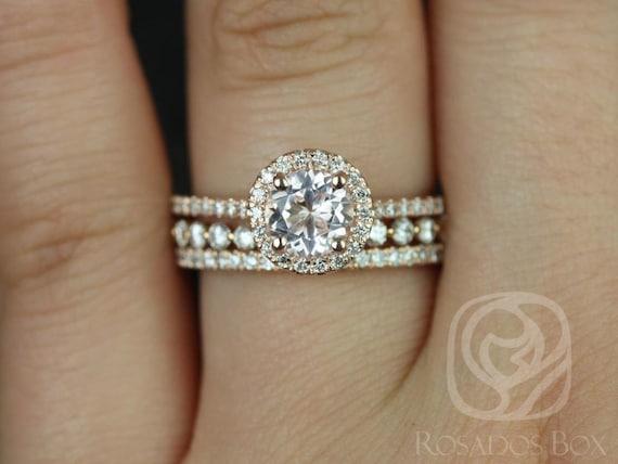 Rosados Box Kubian 6mm & Petite Naomi 14kt Rose Gold Round Morganite and Diamonds Halo TRIO Wedding Set