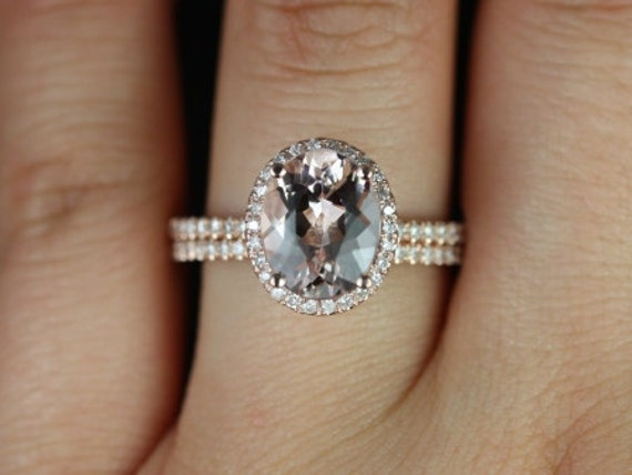 10x8mm Oval Morganite Diamonds Petite Micro Pave Halo Classic Wedding Set Rings Rings,14kt Rose Gold,Federella 10x8mm,Rosados Box