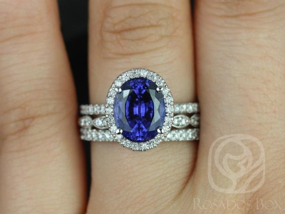 10x8mm Oval Blue Sapphire Diamond Micropave Halo TRIO Wedding Set Rings Rings,14kt White Gold,Chantelle 10x8mm & Christie,Rosados Box