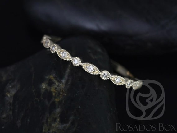 Rosados Box Ready to Ship Ultra Petite Bead & Eye 14kt Yellow Gold Thin Art Deco WITH Milgrain Diamonds HALFWAY Eternity Band Stack Ring