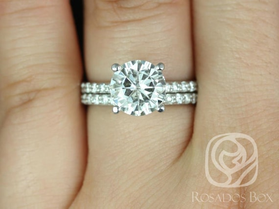 2.25ct Round Forever One Moissanite Diamonds Non-Cathedral Solitaire Accent Wedding Set Rings,14kt Solid White Gold,Sarah 8.5mm,Rosados Box