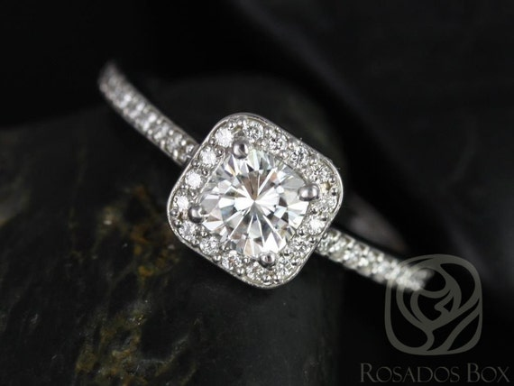 Rosados Box Camila 5mm 14kt White Gold Cushion Forever One Moissanite Diamonds Halo Engagement Ring