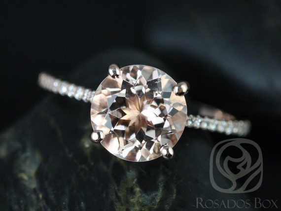 Eloise 9mm 14kt Rose Gold Morganite Diamonds Dainty Cathedral Round Solitaire Accent Engagement Ring,Rosados Box
