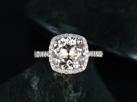 Rosados Box Barra 9mm 14kt Rose Gold Morganite and Diamonds Cushion Halo Engagement Ring