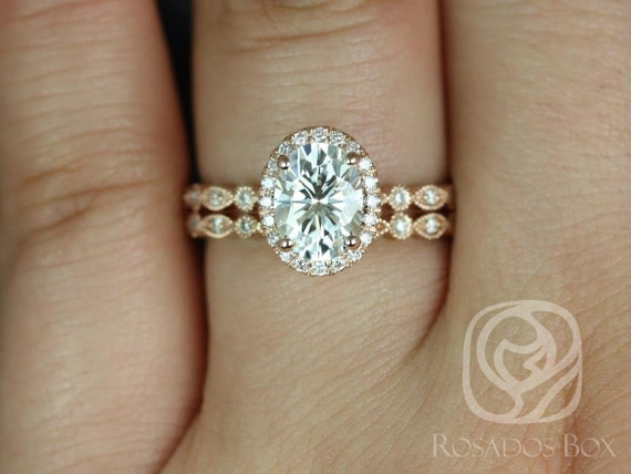 1.50ct Oval Forever One Moissanite Diamonds Art Deco Scalloped Halo WITH Milgrain Wedding Set Rings,14kt Rose Gold,Gwen 8x6mm,Rosados Box