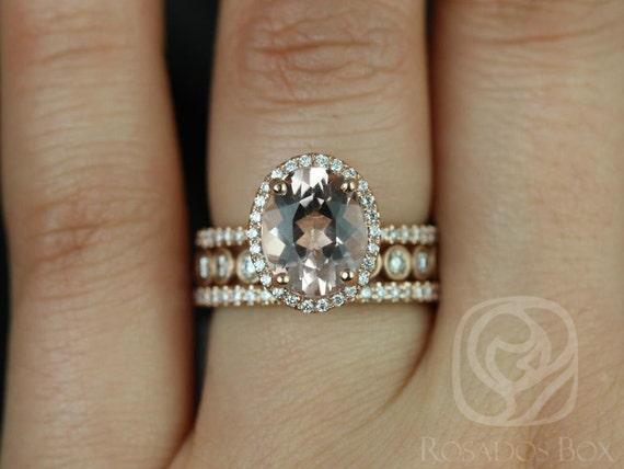 Rosados Box Jessica 10x8mm & Bubbles 14kt Rose Gold Oval Morganite Diamond Halo TRIO Wedding Set Rings