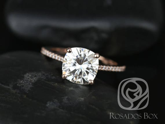 SALE Rosados Box Ready to Ship Marcelle 8.5mm 14kt ROSE Gold Cushion FB Moissanite and Diamonds Cathedral Engagement Ring