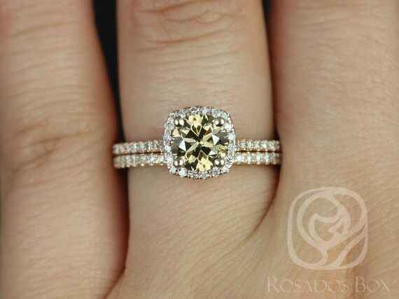 1ct Ready to Ship Samina 14kt Rose Gold Honey Champagne Cognac Diamond Dainty Micropave Cushion Halo Wedding Set Rings,Rosados Box