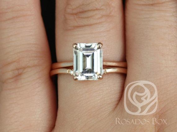 Rosados Box Skinny Norma 9x7mm & Momo 14kt Rose Gold Emerald Forever One Moissanite Diamond Cathedral Wedding Set