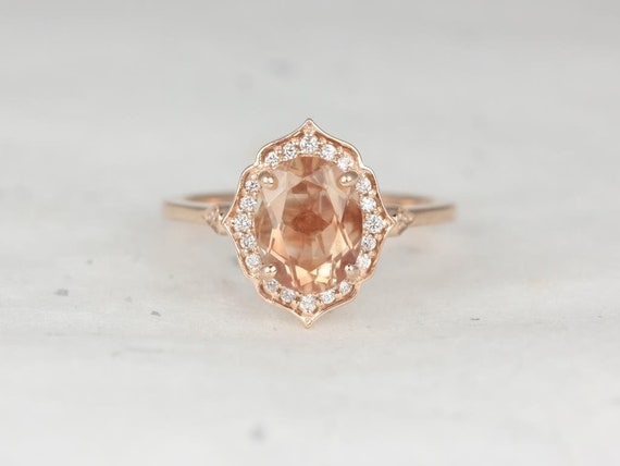 Mae 9x7mm 14kt Rose Gold Sunstone Diamond Unique Oval Halo WITHOUT Milgrain Engagement Ring,Rosados Box