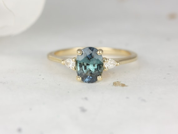 1.32ct Ready to Ship Petite Emery 14kt Gold Ocean Teal Sapphire Diamond Dainty 3 Stone Oval Engagement Ring,Rosados Box