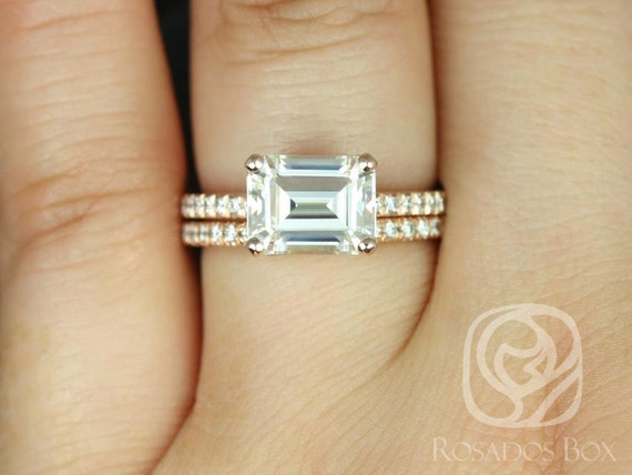 Rosados Box Becca 9x7mm 14kt Rose Gold Emerald Forever One Moissanite Diamonds Accent Classic Wedding Set Rings