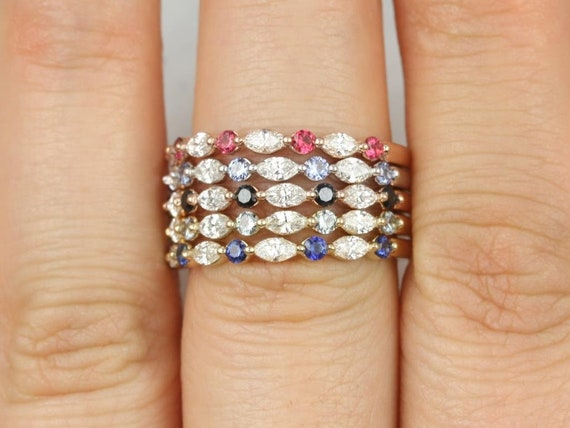 Marquise Round Diamond Sapphire Floating Prong HALFWAY Eternity Band Ring,14kt Solid Rose Gold,Petite Cher,Rosados Box