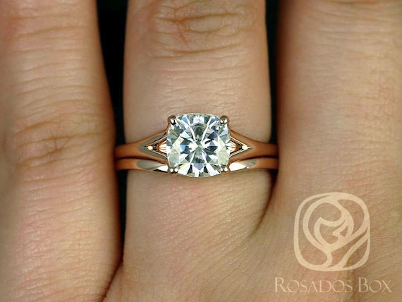 SALE Rosados Box Ready to Ship Khaleesi 7.5mm 14kt Rose Gold Cushion FB Moissanite Split Cathedral Wedding Set Rings