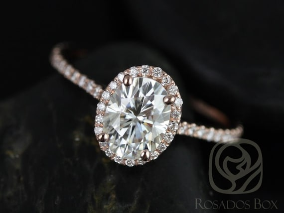 1.50ct Rachel 8x6mm 14kt Rose Gold Forever One Moissanite Diamonds Dainty Micropave Oval Halo Engagement Ring,Rosados Box
