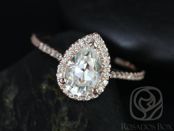Rosados Box DIAMOND FREE Tabitha 9x6mm 14kt Rose Gold Pear F1- Moissanite and White Sapphires Halo Engagement Ring