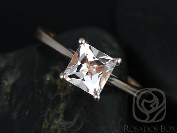 Rosados Box Gallina 6mm 14kt Rose Gold Princess Morganite Cathedral Looped Solitaire Engagement Ring