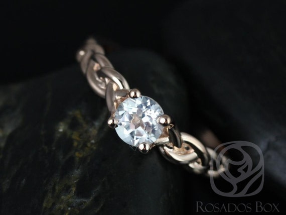Rosados Box Prudence 5mm 14kt Rose Gold Round White Topaz Braided Engagement Ring