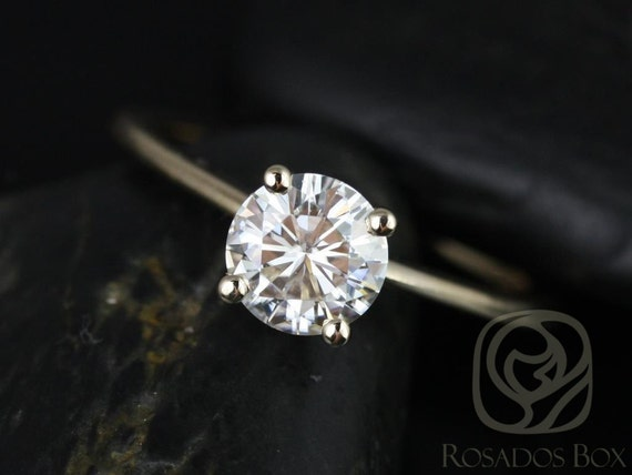 Rosados Box Ready to Ship Skinny Alberta 6.5mm 14kt WHITE Gold Round Forever One Moissanite Tulip Solitaire Engagement Ring