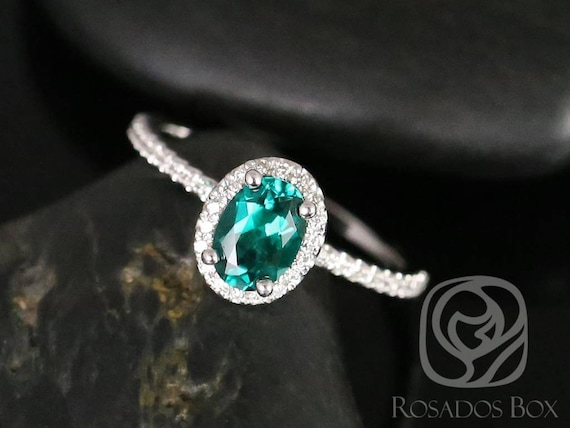 Rosados Box Federella 7x5mm 14kt White Gold Oval Emerald and Diamonds  Halo Engagement Ring