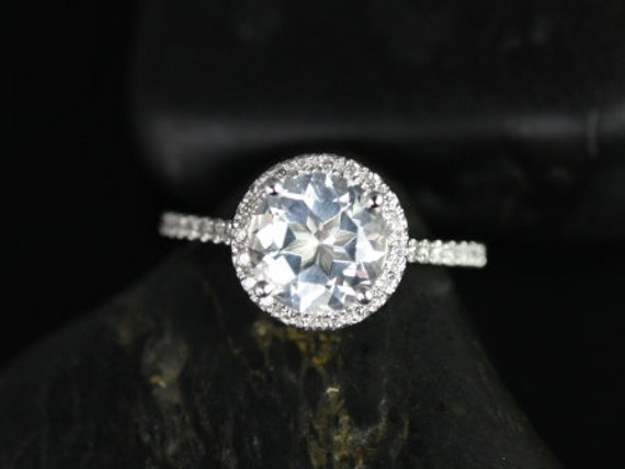 Rosados Box Kubian 8mm 14kt White Gold Round White Topaz and Diamonds Halo Engagement Ring