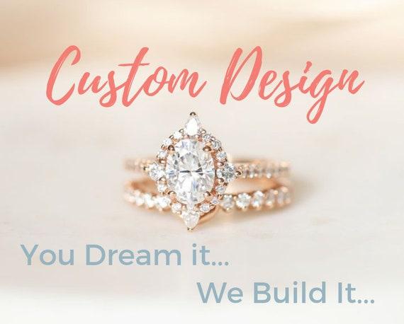 Custom 14kt White Gold Eloise Semi-Mounting, Plain Notch Eloise Bd & 3/4 Petite Naomi Diamonds TRIO Wedding Set (reserved for J)