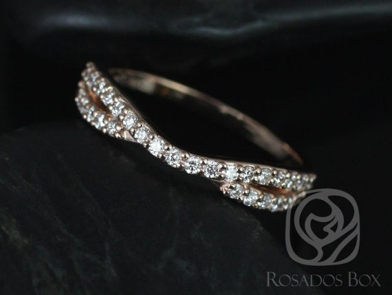 Rosados Box Bree 14kt Rose Gold Curved Diamond HALFWAY Eternity Band