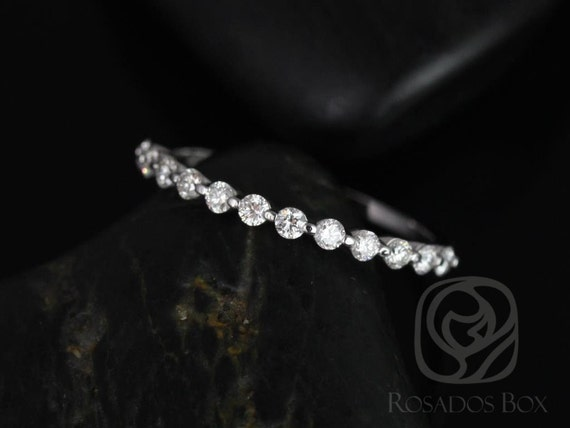 Diamond Single Prong Floating HALFWAY Eternity Band Ring,14kt Solid White Gold,Petite Naomi/Petite Bubble & Breathe,Rosados Box