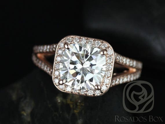 SALE Rosados Box Ready to Ship Diana 8mm 14kt Rose Gold Cushion FB Moissanite and Diamonds Halo Split Shank Engagement Ring