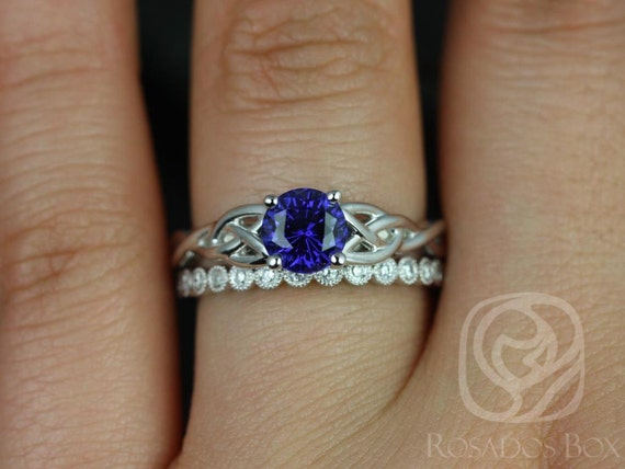 6mm Round Blue Sapphire Diamond Celtic Love Knot Triquetra Wedding Set Rings,14kt Solid White Gold,Cassidy 6mm & Petite Bubbles,Rosados Box