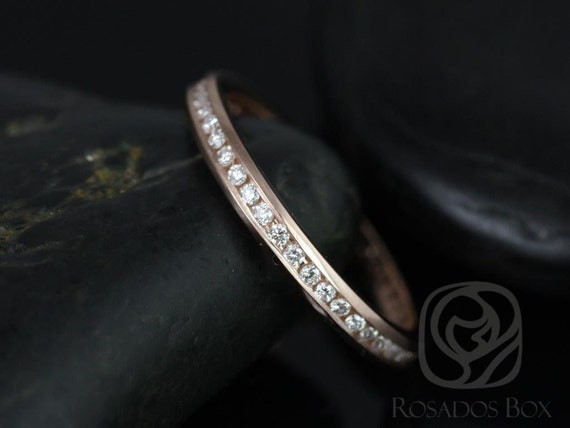 Rosados Box Martha 14kt Thin Rose Gold Channel Set Round Diamonds FULL Eternity Band