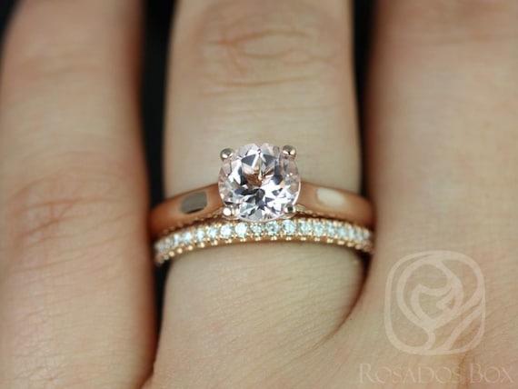 Rosados Box Hannah 7mm & Rujira 14kt Rose Gold Round Morganite Diamond Cathedral Wedding Set Rings