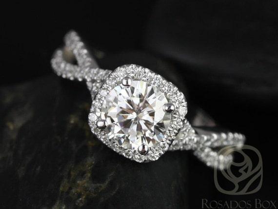 Rosados Box Josephine 7mm 14kt White Gold Round Forever One Moissanite Diamonds Twisted Cushion Halo Engagement Ring