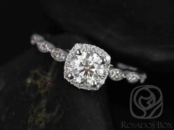 3/4ct Christie 14kt Solid White Gold Round Diamond Art Deco Vintage Pave Cushion Halo WITH Milgrain Engagement Ring,Rosados Box