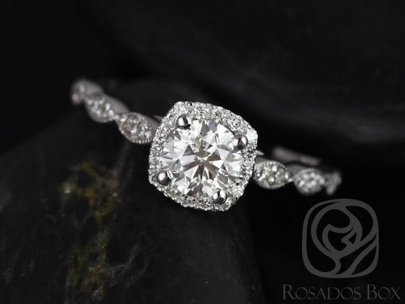 Rosados Box Christie 3/4ct 14kt White Gold Round Diamond Cushion Halo WITH Milgrain Engagement Ring