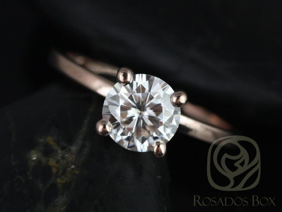 Rosados Box Ella 7mm 14kt Rose Gold Round F1- Moissanite Tulip Solitaire Engagement Ring