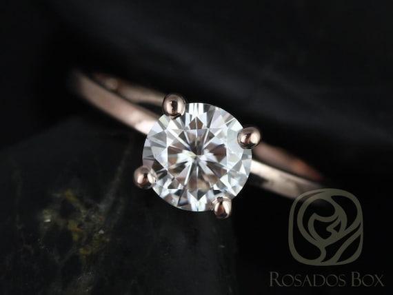 Rosados Box Ella 7mm 14kt Rose Gold Round F1- Moissanite Tulip Solitaire Engagement Ring