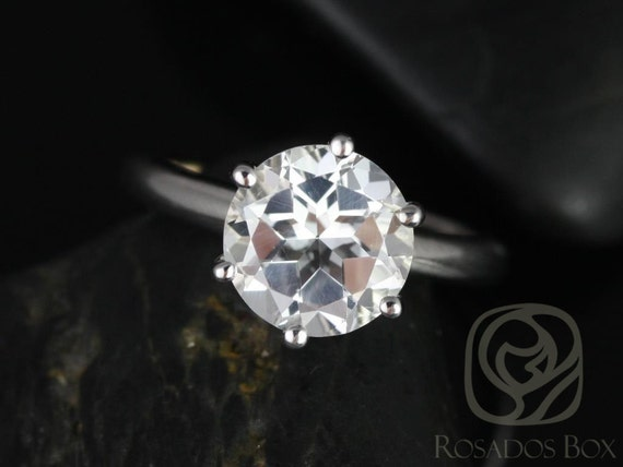 Rosados Box Webster 9mm 14kt White Gold Round White Topaz Six-Prong Webbed Engagement Ring