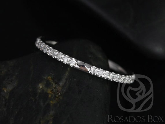 Thin Diamond Notched Matching Band to Eloise 7/7.5mm ALMOST Eternity Ring,14kt Solid White Gold,Rosados Box