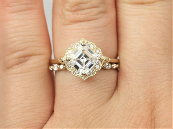 1.30ct Leena 6.5mm & Ult Pte Cher 14kt Gold Forever One Moissanite Diamond Asscher Kite Halo WITH Milgrain Engagement Ring,Rosados Box