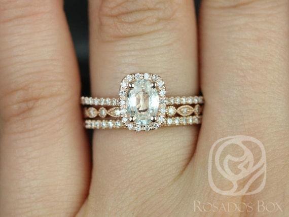 Rosados Box Romani 7x5mm & Ultra Petite Bead Eye 14kt Oval White Sapphire and Diamond Halo TRIO Wedding Set Rings
