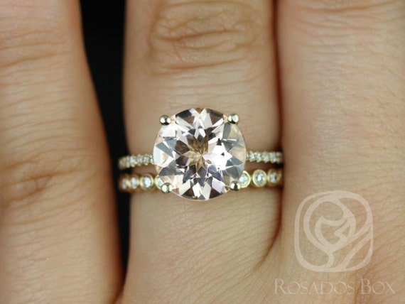Eloise 10mm & Petite Bubbles 14kt Gold Morganite Diamonds Thin Round Solitaire Accent Wedding Set Rings,Rosados Box