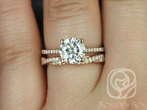 1.50ct Eloise 7.5mm & Twyla 14kt Rose Gold Forever One Moissanite Diamonds Twisted Pave Round Wedding Set Rings,Rosados Box