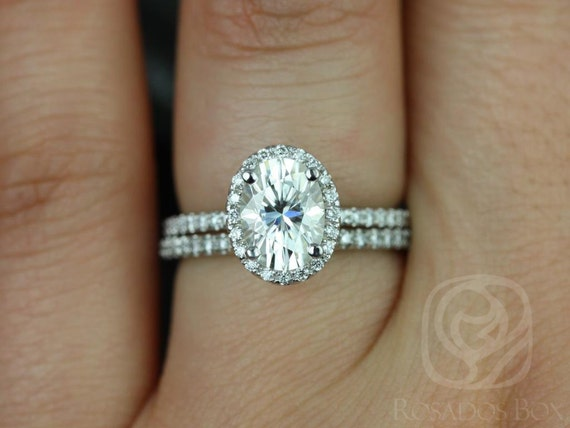 1.50ct Oval Forever One Moissanite Diamond Dainty Pave Halo Classic Wedding Set Rings Rings,14kt White Gold,Federella 8x6mm,Rosados Box