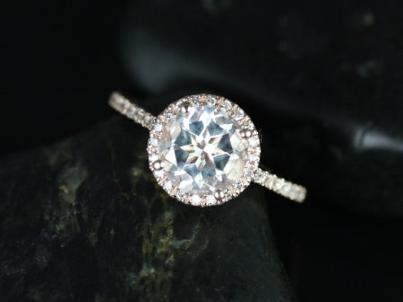 Rosados Box Kubian 8mm 14kt Rose Gold Round White Topaz and Diamonds Halo Engagement Ring