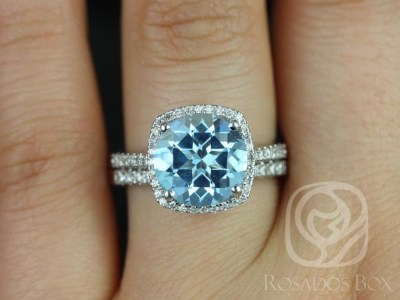 Rosados Box Barra 10mm 14kt White Gold Blue Topaz and Diamond Cushion Halo Wedding Set Rings