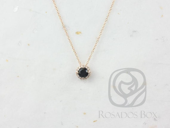 Rosados Box Ready to Ship Gemma 5mm 14kt Rose Gold Round Black Onyx and Diamonds Halo Floating Necklace